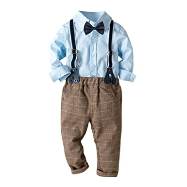 f061e89d61fb6 Amazon.com  Sagton Baby Boy Clothes Cotton Long-Sleeved Shirt +Pant Outfits  Set for Toddler  Clothing