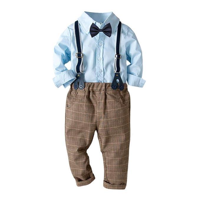 Sannysis Babykleidung,Baby-Jungen Bekleidungssets Strampler Festliche Kleidung Baumwolle Blau Hemd Hose Hosentr/äger Taufanzug Gentleman Anzug Fliege Kinderbekleidung