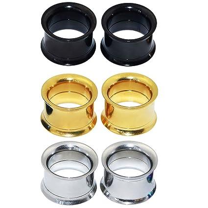 Longbeauty - 3pares de pendientes de acero inoxidable para dilataciones, varios colores a