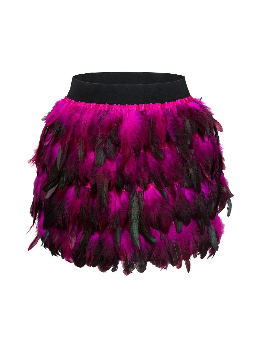 Damen Feder Rock Karnevalkostüm Elastische Taille Party Minirock