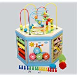 Joyeee 8 in 1 Creative Classic Wooden Bead Maze Activity Cube Play Center- Perfect Christmas Gift for Kids