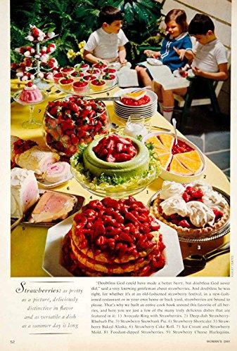 1964 Color Print Strawberry 60s Recipes Pie Molded Gelatin Salad Sixties YFR1 - Original Color Print
