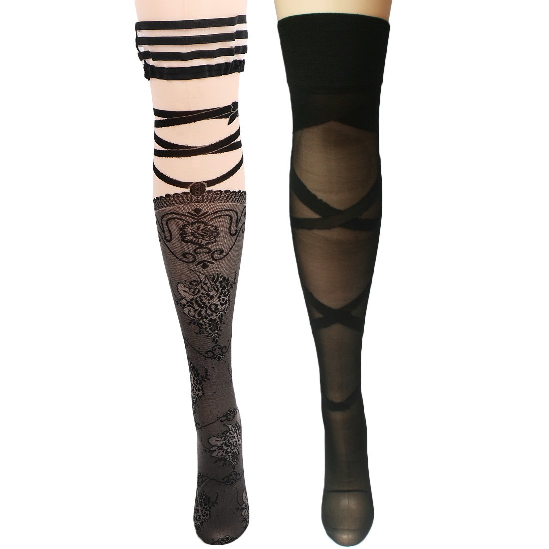 kilofly Thigh High Hold Ups Sheer Stockings Combo [2 Pairs Set] Stripes & Lace FTW393set2