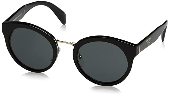 8e398e6d7c69 Prada PR05TS 1AB1A1 Black PR05TS Round Sunglasses Lens Category 3 Size 53mm