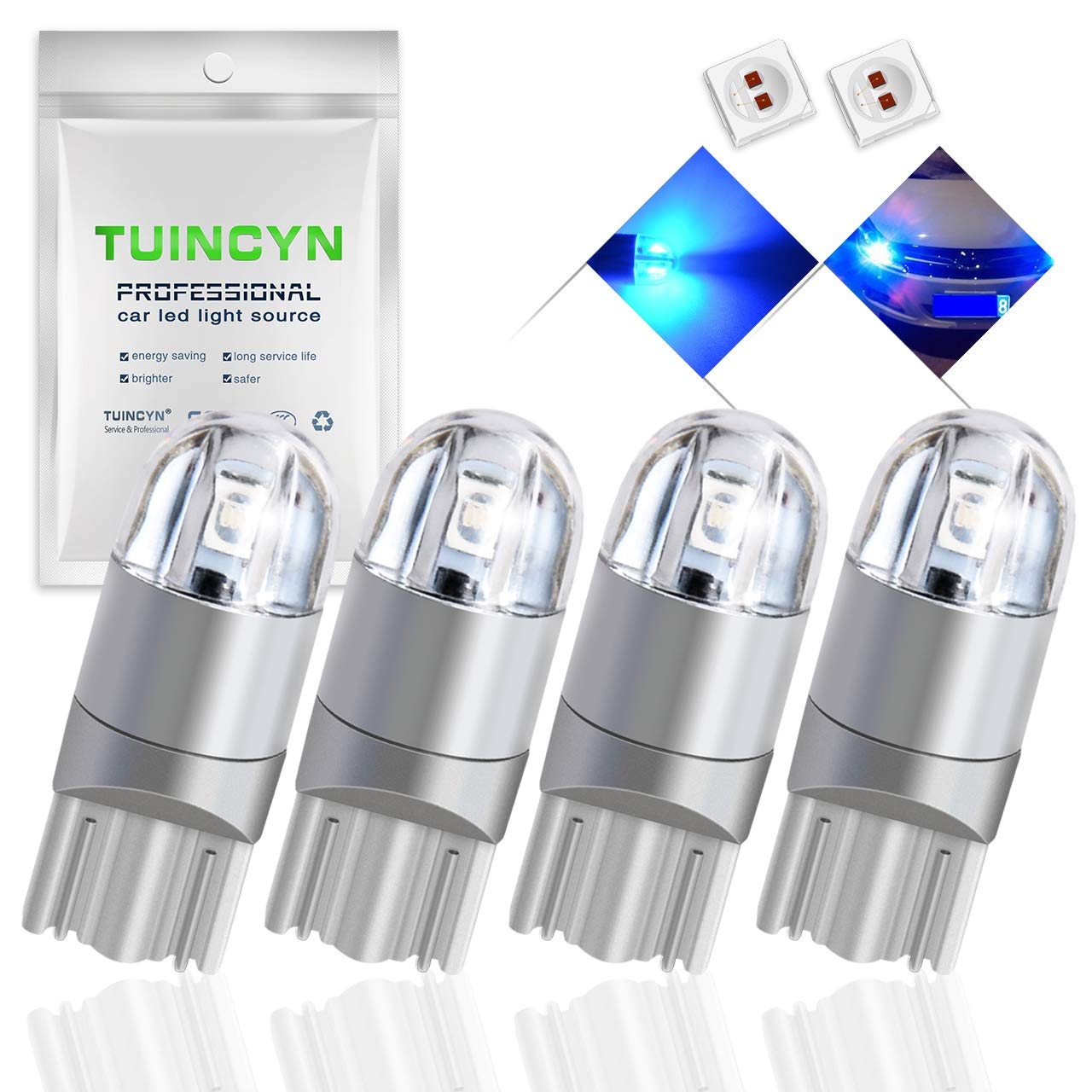 10pcs TUINCYN T10 194 168 LED Bulb Ice Blue Super Bright 2825 W5W 175 158 Socket 2SMD 3030 Chipsets Car Interior Light Map Dome Lamp Courtesy Trunk License Plate Dashboard Parking Light 12V-24V