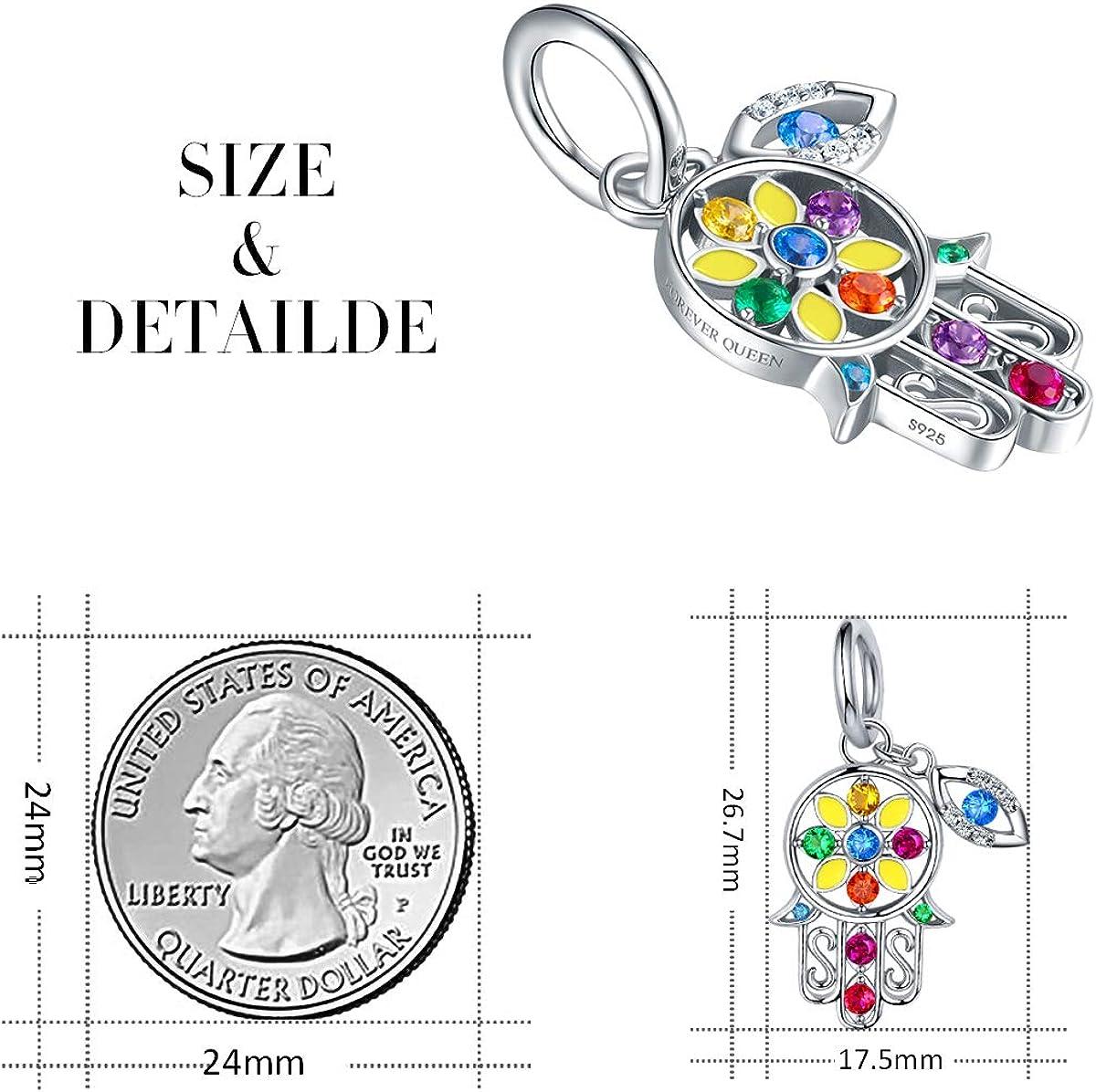 FOREVER QUEEN Fatima Charm en argent sterling 5A Zircon 925 pour Bijoux Meilleur cadeau