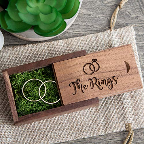 The Rings - Walnut Wood Ring Box with green moss, Small Ring Bearer Box, Wedding Photo -