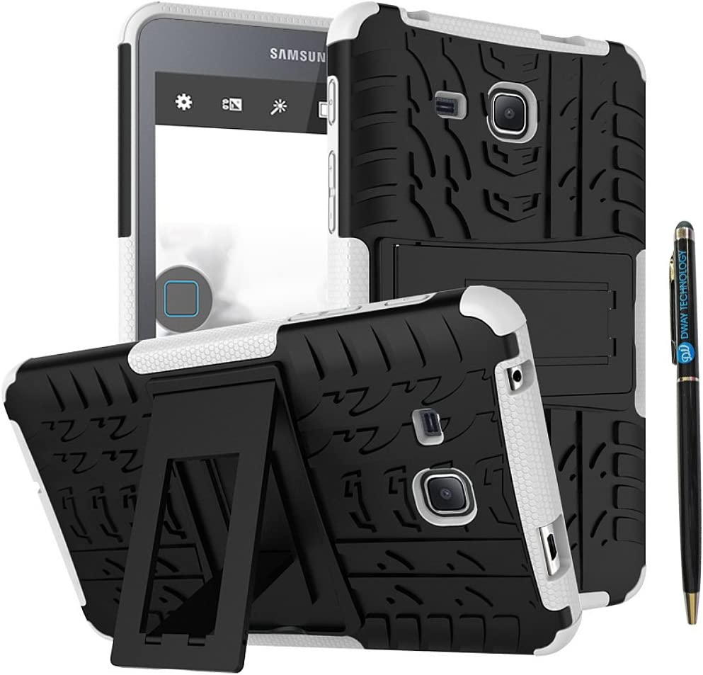 Tab A 7 inch 2016 Case DWaybox 2in1 Combo Hybrid Armor Rugged Heavy Duty Hard Back Cover Case with Kickstand for Samsung Galaxy Tab A 7.0 2016 T280 T285 (White)