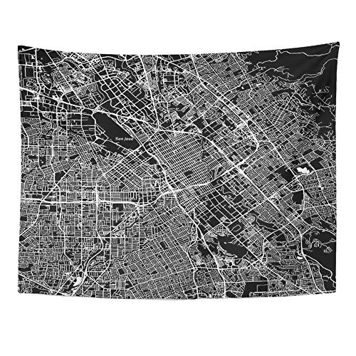 Emvency Tapestry Artwork Wall Hanging San Jose California Downtown Map City Name on Separate Layer Black and White 60x80 Inches Tapestries Mattress Tablecloth Curtain Home Decor Print -