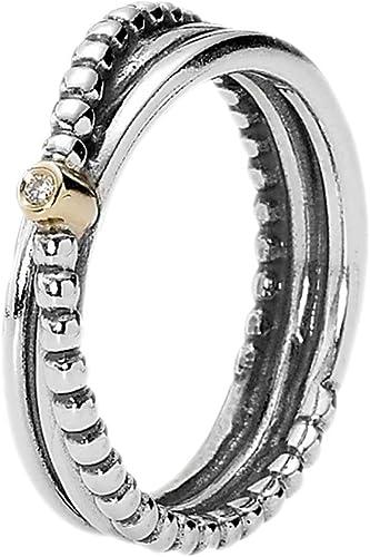 Bague Pandora en argent 925 avec or et diamant Ø 18,4 mm, taille ...