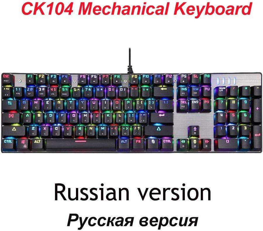HUOGUOYIN Gaming Keyboard Gaming Keyboard Russian//English Mechanical Keyboard Blue//Red Switch Metal Key LED RGB//Backlit Keyboard for Gamer Keyboard Axis Body : Red Switch, Color : CK104 En Mousepad