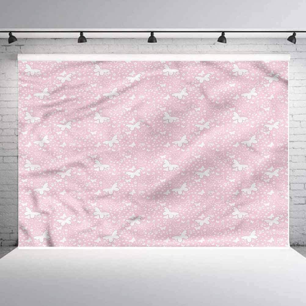 6x6FT Vinyl Photography Backdrop,Butterfly,Soft Pink Floral Background for Selfie Birthday Party Pictures Photo Booth Shoot