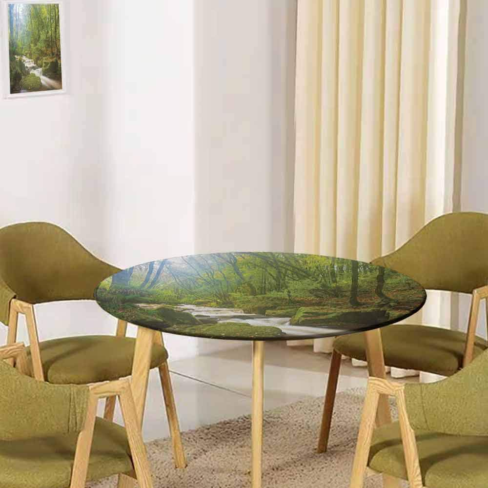 UNOSEKSHOME Woodland,Tabletop Decoration Forest Scene at Golitha Falls Nature Reserve on The River Fowey Cornwall England Buffet Decoration(Elastic Edged) Green Brown 43.5''-45.5'' Round