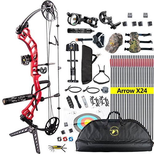 """TOPOINT Ship from USA Archery Trigon Compound Bow Package,CNC Milling Bow Riser,USA Gordon Composites Limb,BCY String,19""""-30"""" Draw Length,19-70Lbs Draw Weight,IBO 320fps"""
