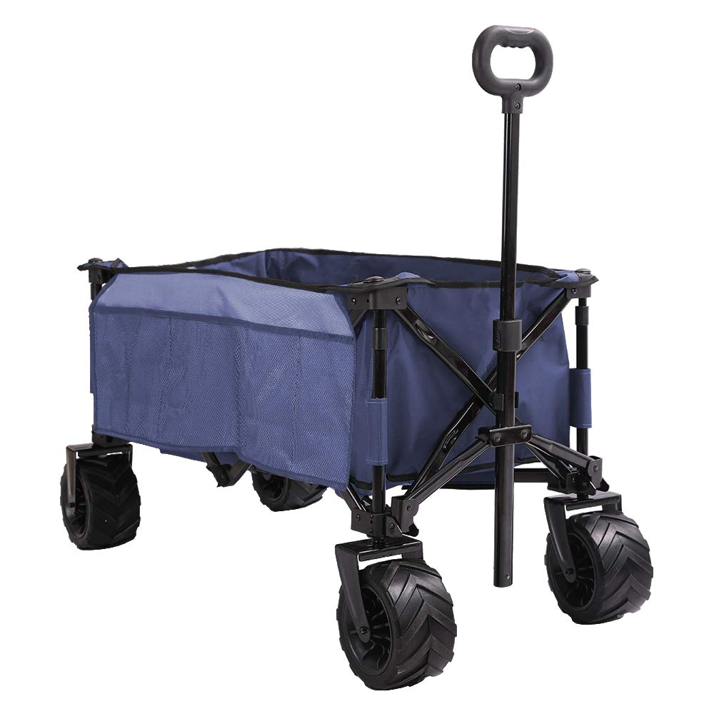 Patio Guarder Folding Wagon Cart, All-Terrain Wheels, Heavy Duty Collapsible Outdoor Utility Beach Wagon - Perfect Use for Camping, Shopping, Picnic, Beach Trip, Side Bag, Blue