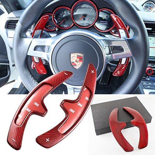 Xotic Tech Carbon Fiber Paddle Shifter Extensions for Porsche 991 987.2 997.2 958 970 2009-2016 Red