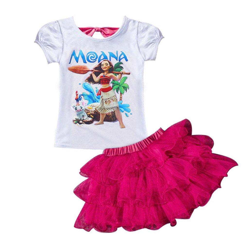 AOVCLKID Moana Little Girls' 2Pcs Suit Cartoon Shirt and Skirt Set (Rose,100/2-3Y)