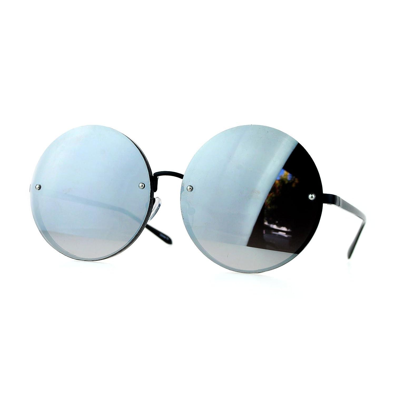 c62e3a8e4b Amazon.com  SA106 Unique Rimless Oversized Hippie Round Circle Lens  Sunglasses Black Mirror  Clothing