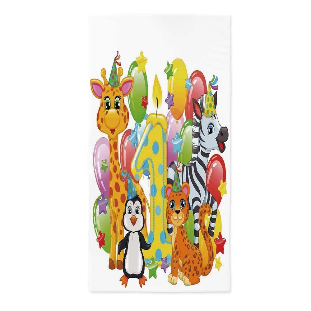 1st Birthday Decorations No Fading Tablecloth,Kids Party with Baby Safari Animals Zebra Lion Balloons Backdrop for Table Outdoor Picnic Holiday Dinner,70.1''W X 104.3''L