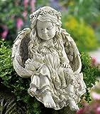 Barefoot Angel & Bunny Rabbit Garden Sculpture