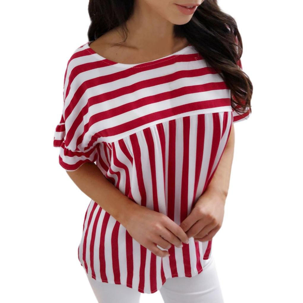 kingfansion Ladies Womens Summer Casual Striped T Shirt Loose Tops Blouse Plus Size kingfansion women top