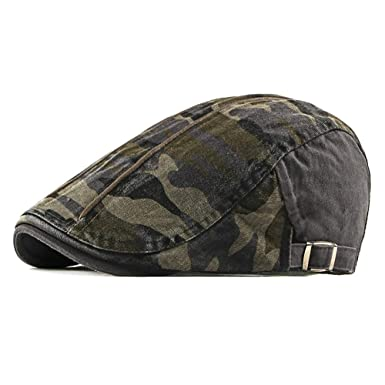 Gysad Moda Boina de Hombre Patrón de Camuflaje Gorras Planas Unisex Sombrero Size 55-61cm
