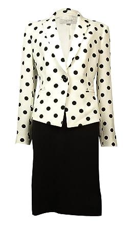 5f3822251e Tahari ASL Notch Lapel Polka Dot Skirt Suit (2, Ivory White/Black)