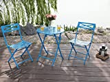 Captiva Designs Outdoor Patio Stable Steel Bistro Folding Table and Chair Furniture 3 Set,Blue Review