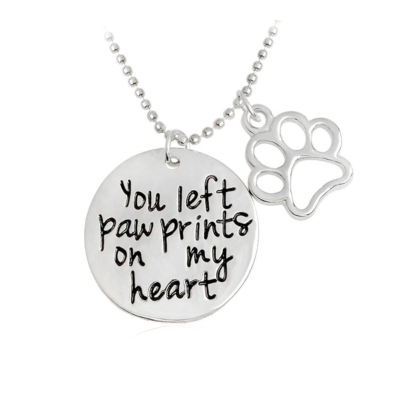 Hollow Heart Paw Necklace Small Paw Jewelry Paw Print Necklace Dog Jewelry