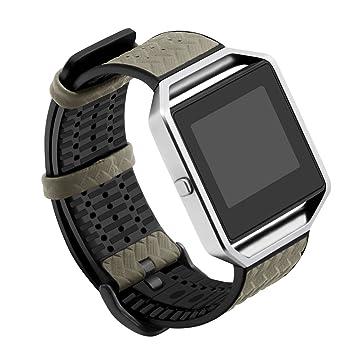 TopTen Pulsera de repuesto para reloj inteligente Fitbit Blaze, de piel y TPU, ajustable
