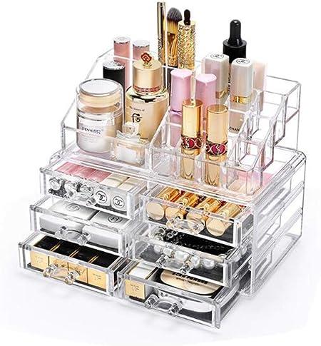 BUMC Acrílico Organizador de Maquillaje Estuche apilable de 4 Niveles Organizadores de cosméticos Ideal para maquillar Pinceles, lápices labiales, paletas, Esmalte de uñas,L31: Amazon.es: Hogar