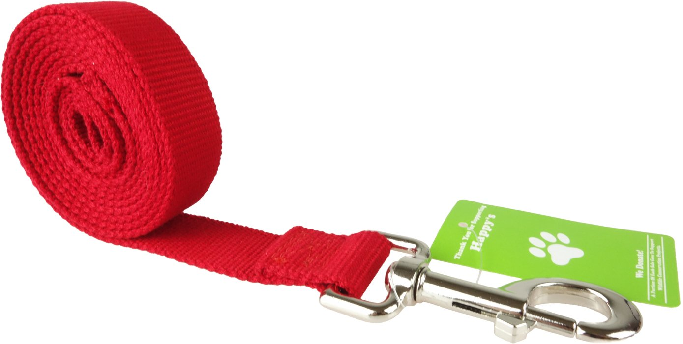 Organic Bamboo Dog Leash (Red) Happy's Eco-Friendly Pet Leash, Durable 6-foot Long and 1-inch Wide, Metal Hook, Width Stronger, Safer and Softer than Basic Nylon