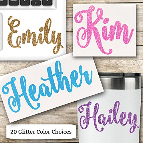 Glitter Name Vinyl Decal for RTIC Ozark Trail and Yeti Tumblers Laptops MacBooks and More