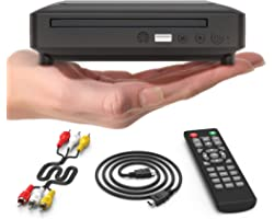 Ceihoit Mini DVD Player, DVD CD/Disc Player for TV with HDMI/AV Output, HDMI/AV Cables Included, HD 1080P Supported Built-in