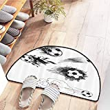 SEMZUXCVO Interior Door mat Sports Decor Various Round Soccer Balls in Air Fast Kick Shoot in Flame Kickoff Space Artsy Sketch Non-Slip Door mat pad Machine can be Washed W31 x L20 Black White