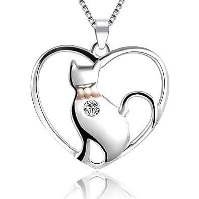 LYTOPTOP - Collar con Colgante en Forma de Gato de Plata de Ley 925 con Forma de corazón para Mujeres y niñas: Amazon.es: Joyería