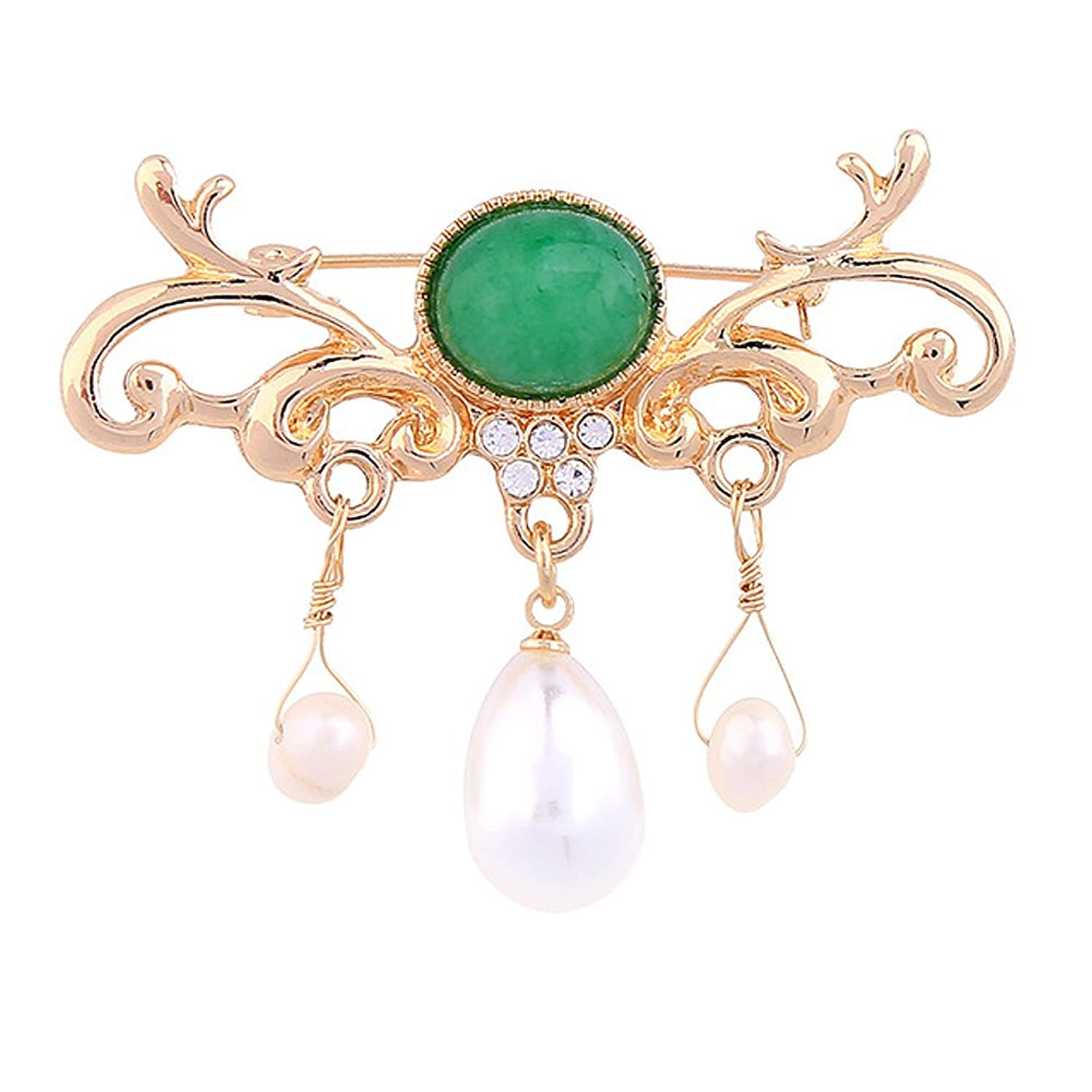 Vintage Emerald Stone Brooch Pin Artificial Pearls Dangle Gifts For Women Mother RareLove