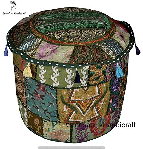HANDMADE Christmas Decorative Bohemian Ottoman Patchwork Ottoman Indian Embroidered Indian Vintage Cotton Round Pouf Foot Stool , Seating Pouf Ottoman, Vintage Ottoman Bohemian Decor (Cover Only) by GANESHAM