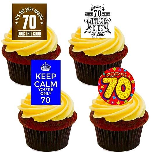 70th cumpleaños, decoraciones de la torta comestible plaśtico ...