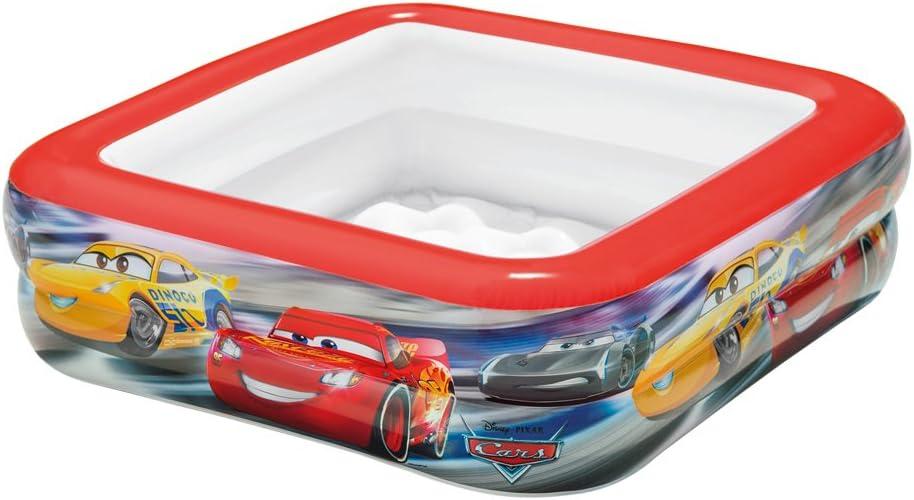 Intex 57101NP - Piscina bebé hinchable cuadrada de Cars, 85 x 85 x 23 cm, 57 litros