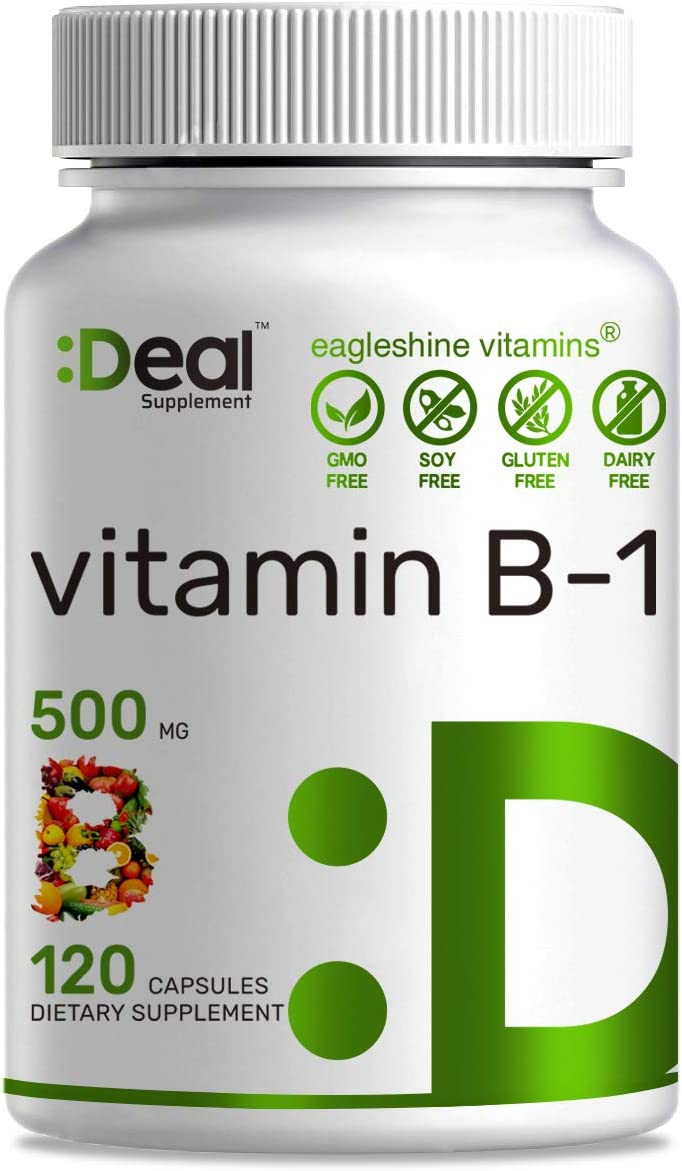 Deal Supplement Vitamin B1 (Thiamine), 500mg, 120 Capsules, Promotes Energy Production & Supports Nervous System, Immune Vitamins, Non-GMO, No Gluten, Made in USA