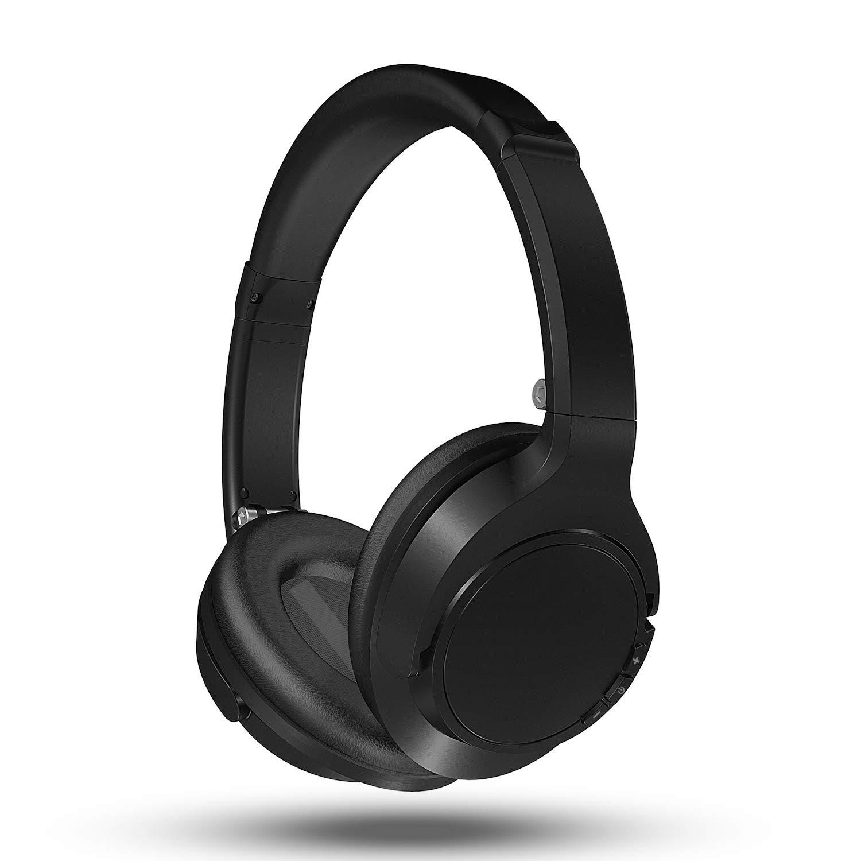 Bluetooth Kopfhörer Kabellos on Ear mit Sattem Bass, Mikrofon und 3,5-mm-Audioeingang, Federleichtes Headset für Handy, Tablets und PC (Schwarz)