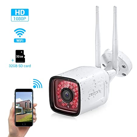 Zeepin Outdoor Security Camera 1080P Waterproof WiFi IP Camera with Motion Detector Night Vision 2- Way Audio Home Surveillance Bullet Camera Compatible with iOS Android Include 32G Card