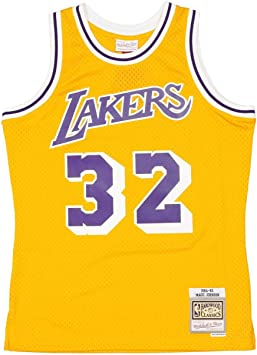 Camiseta Mitchell & Ness Los Angeles Lakers Magic Johnson Amarillo/Morado SMJYGS18175-LALLTGD84EJH