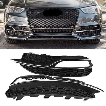 Para Parrillas Delanteras Antiniebla Delanteras de Estilo S3, Negro Brillante para Audi A3 S-Line 8V 2013-2016 por Delaman: Amazon.es: Coche y moto