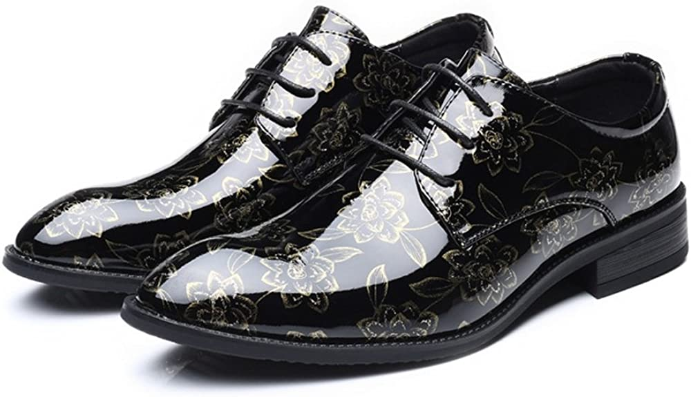 MUMUWU Mens PU Leather Shoes Smooth Flower Pattern Upper Lace Up Breathable Lined Block Heel
