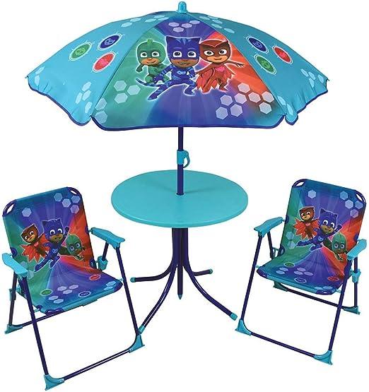 Juego de Mesa de jardín para niños, 2 sillas, Paraguas PJ Masks ...