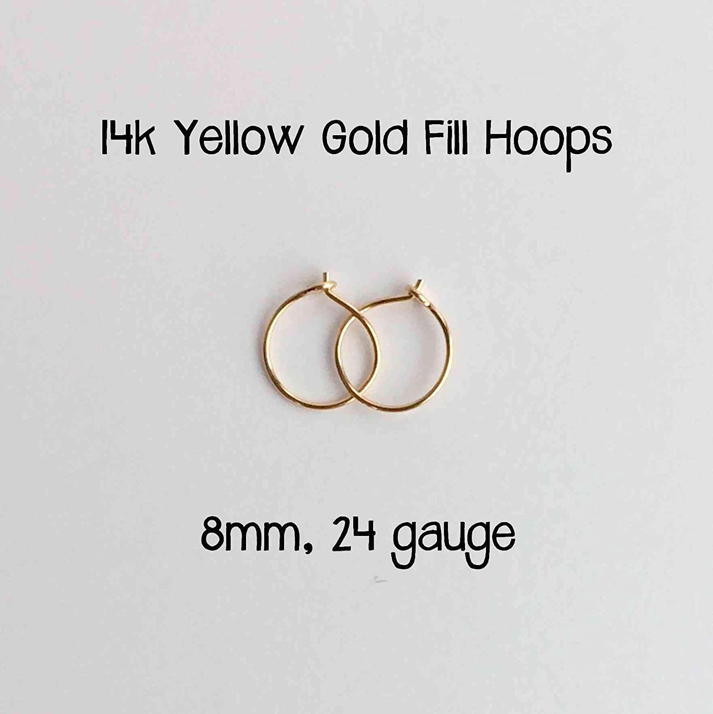 Handmade Extra Thin and TINY Hoop Earrings 24 gauge 14k Yellow Gold Fill Hoop Earrings 8mm