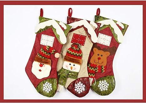 WESEASON Pack De 3 Botas Clásicas De Navidad Medias De Santa Sacks ...