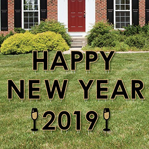 Big Dot of Happiness Happy New Year - Yard Sign Outdoor Lawn Decorations - 2019 New Years Eve Yard Signs ()